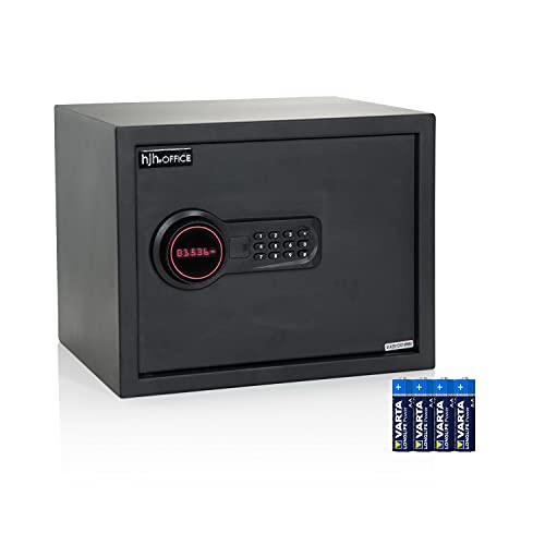 hjh OFFICE Cassaforte con serratura a combinazione 27 L SAFE COMPACT in acciaio nero cassaforte elettronica serratura 30 x 38 x 30 cm, batterie incluse