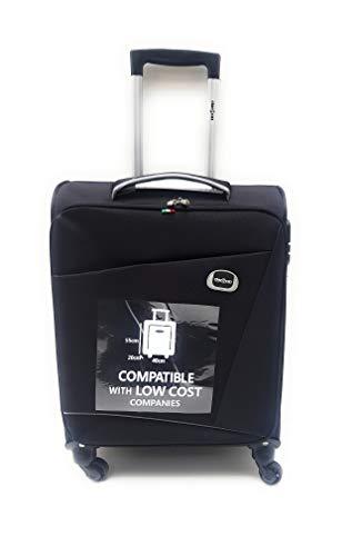 Trolley Clacson cm. 55 x 40 x 20 Bagaglio a mano 4 Ruote Semirigido Impermeabile Idoneo Low Cost Ryanair (Nero)