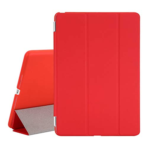 TKOOFN Case for New iPad 2017/2018 iPad 9.7 Inch, Ultra Slim Lightweight Smart Case Cover Stand with Translucent Frosted Hard Plactic Back Cover for iPad 5th/6th Generation[Auto Sleep/Wake], Red