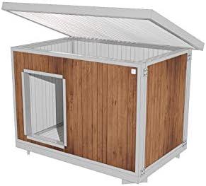CUCCE ITALIANE Niche isolée 90X60H72 ROMA WOOD pour chiens d'extérieur jardin avec toit ouvrant.