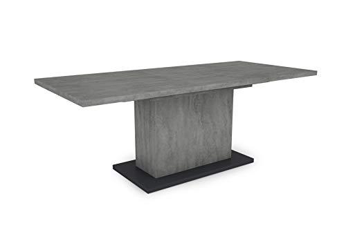 HOMEXPERTS Esszimmertisch AIKO / Beton-Optik grau / großer Auszugstisch 160 cm bis 200 cm / Säulentisch mit Ausziehfunktion / Tisch mit Synchronauszug und Einlegeplatte / 160-200 x 90, H 75 cm