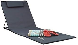 Relaxdays Tumbona Portátil XXL con Cojín, Plástico, Gris Antracita, 4x60x195 cm