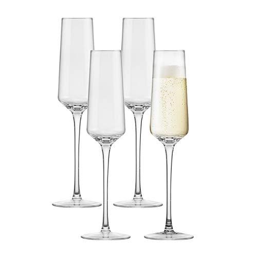 Lawei 4 copas de champán de cristal para el hogar, restaurantes, fiestas, apto para...