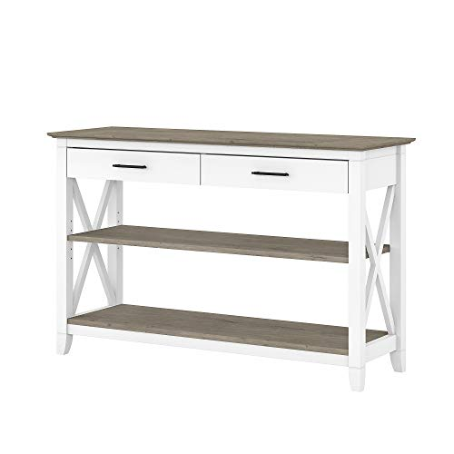 Bush Furniture Key West Console Table with Drawers and Shelves, Pure White and Shiplap Gray