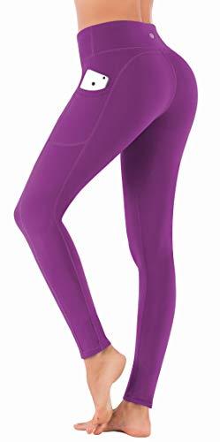 IUGA Pantaloni da yoga da donna, con tasche, controllo della pancia, elasticizzati in 4 direzioni, a vita alta - Viola - XS