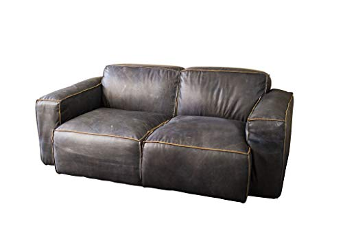 pib Sofa Atsullivan Vintage - Genarbtes Leder, Rindsleder, Hoher Sitzkomfort, Außergewöhnlichse Produkt, Nobles Material | Ledersofa im skandinavischen Vintage Stil - Terrabraun (L170 x H68 x P99 cm)