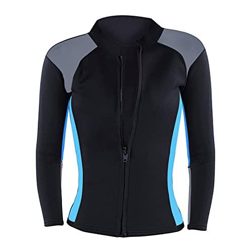 SunniMix Camiseta de Traje de Neopreno de 2mm para Mujer, Camisa de Manga Larga con Cremallera Frontal para Buceo Snorkeling Surf piragüismo - Azul, M