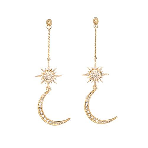 Naisicatar Elegante Joyería Pendientes 1 Par Borla Larga Pendientes Brillante De Estrella De con Encanto Color Oro Regalo para Mujeres Niñas