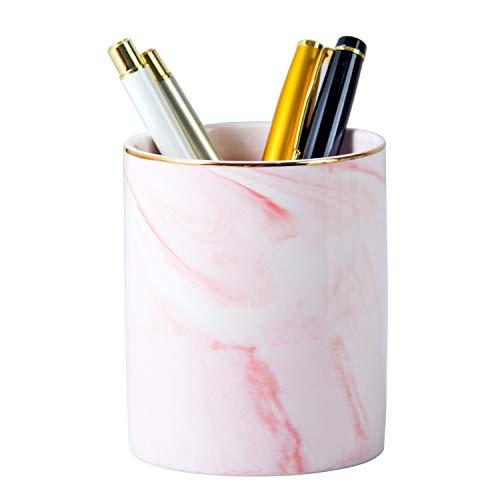 YOSCO Ceramic Desk Round Pen Holder Stand Marble Pattern Pencil Cup Pot Desk Organizer Makeup Brush Holder (Pink)