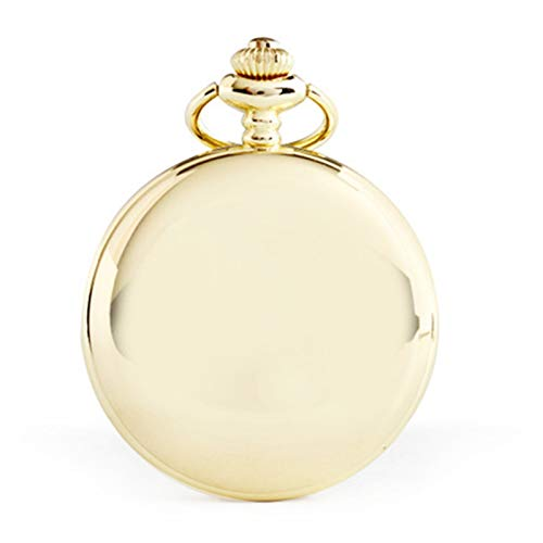 Reloj de bolsillo negro retro liso para hombre con cadena, Dorado claro,