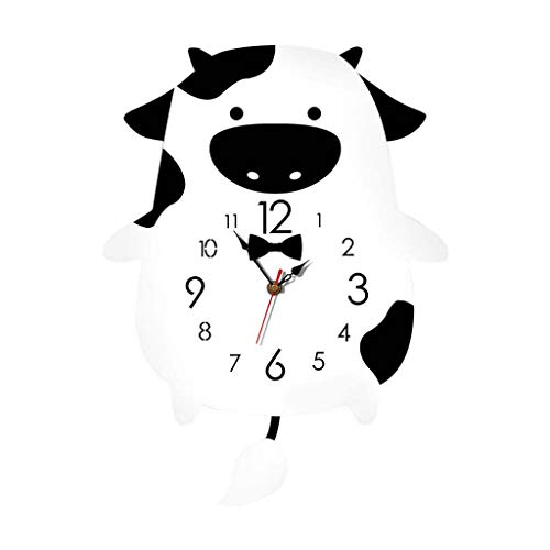 Yeyeyo Wooden Clock Wall Clock Cartoon Swing Cow Silent for Home Living Room Creative Children Colorful (Black)