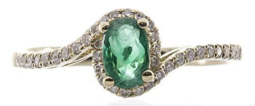 Gin & Grace Oro amarillo de 10k Esmeralda Natural y diamante natural (I1, I2) Compromiso Eternidad Proponen Promise Ring para la Mujer