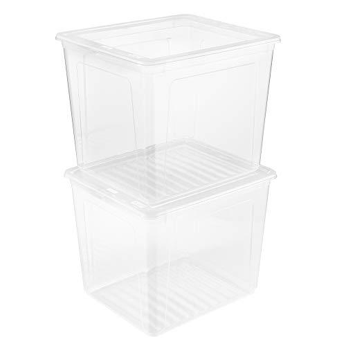 keeeper 2x Aufbewahrungsboxen mit Air Control System, 39 x 33,5 x 35 cm, 30 l, Bea, Transparent