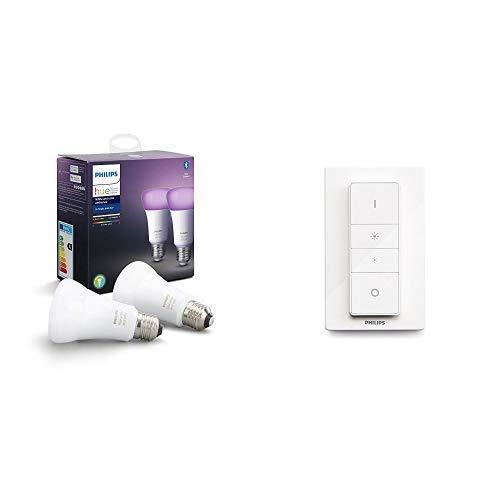 Philips Hue White and Color Ambiance, Lampadine LED Intelligenti, Attacco E27, 9 W, 2 Pezzi [Classe di efficienza energetica A+] con 1 Telecomando Hue Dimmer Switch, Bianco