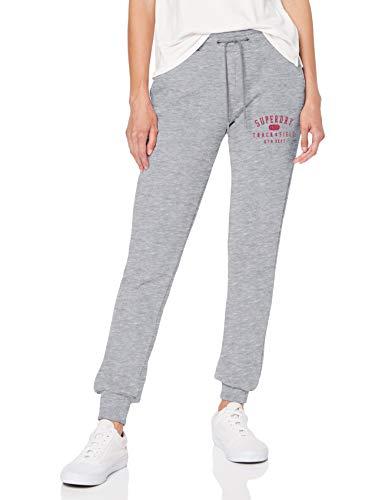 Superdry Track & Field Jogger Pantalones de Deporte, Gris (Mid Grey Marl HBA), M (Talla del Fabricante:12) para Mujer