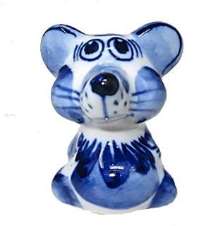 Sweet & Beauty Symbol of The Year 2020 Exclusive Gzhel Souvenir Little Rat Porcelain Hand Painted, 1.5''