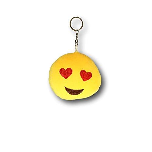 EKNA Emoji-Con - Llavero de peluche con forma de emoticono con anillo, colgante de emoticono, seis diseños a elegir (enamorado + beso)