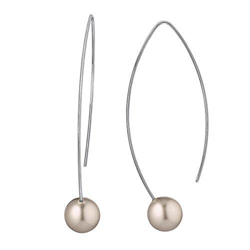 Heideman Ohrringe Damen Auris aus Edelstahl silber farbend matt Ohrstecker hängend für Frauen Swarovski Perle platin farbend rund 10mm