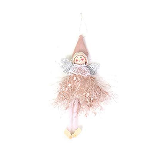 Colgante de decoración navideña de encaje con ángel, adorno para árbol de Navidad, color rosa