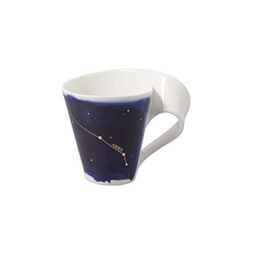 Villeroy & Boch - NewWave Stars Becher mit Henkel, formschöne Tasse mit Widder-Motiv, Premium Porzellan, spülmaschinengeeignet, weiß/blau, 300 ml