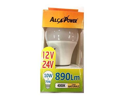 LAMPADINA LED 12V - 24V Lampada Goccia LUCE NATURALE 4000K 10W Attacco E27 890 LUMEN