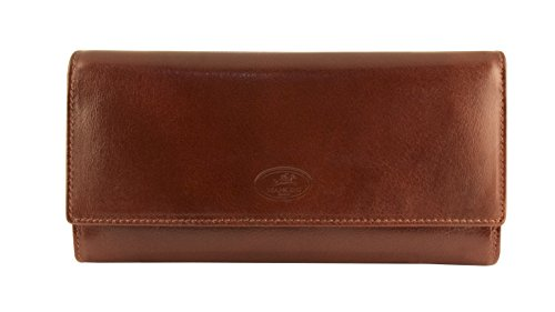 Mancini Leather Goods Ladies' RFID Trifold Wing Wallet (Brown)