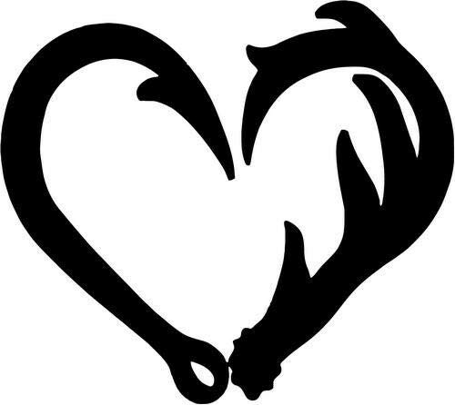 "Size 6"" - (Color White)_Hook Antler Heart Love Fishing Hunting Home Decor Car Truck Window Decal Sticker"