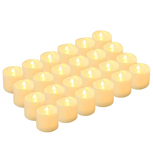 LED Tea Lights Candles, Kohree Flameless Candles Battery Operated LED Candles, Flickering Tealight Candles for Wedding Festival Seasonal Celebration, Warm White, Pack of 24