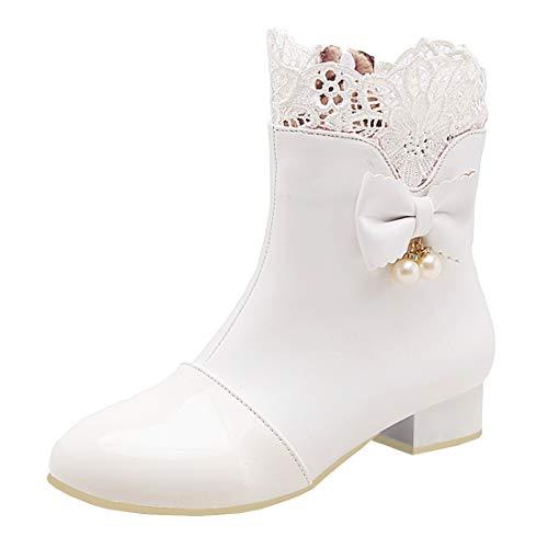 MISSUIT Damen Flache Ankle Boots mit Spitze und Schleife Stiefeletten Rockabilly Kurzschaft Stiefel Reißverschluss(Weiß,39)