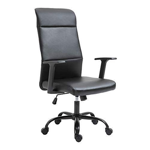 IKAYAA Ergonomic Office Chair,PU Leathe Computer Task Chair,High-Back Executive Swivel Adjustable Office Desk Chair with Casters,Black