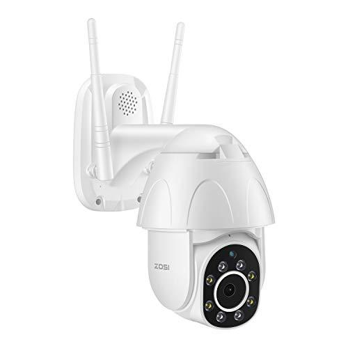 ZOSI 1080P HD PTZ Dome Caméra Surveillance WiFi IP Pan/Tilt 355° et 110° Two-Way Audio Cloud Stockage Smart Détection Humain et Suivi de Cible Sirène d'Alarme LEDs Blanche 30M IR Vision