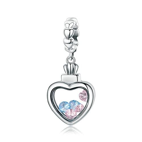 xtszlfj 100% Plata de Ley 925, Colgante de corazón romántico, Encanto de circonita AAA, Pulsera y Collar para Mujer, joyería Fina S925