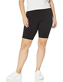 Just My Size Women s Plus-Size Stretch Jersey Bike Short Black 1X
