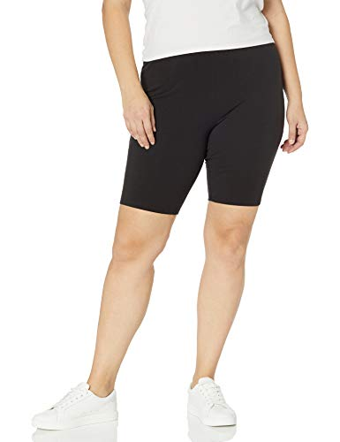 Just My Size Women's Plus-Size Stretch Jersey Bike Short, Black, 2X