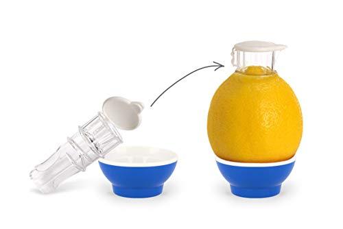 Patent-Safti Entsafter I Der Originale Safti Ausgießer für Zitronen, Orangen etc. I Einfacher als Jede Zitronenpresse oder Saftpresse I (Blau)