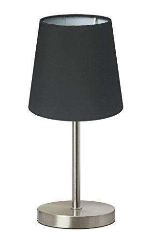 Trango lámpara de mesa Lámpara de noche lámpara de escritorio Lámpara'Blacky' con pantalla de tela en gris TG2017-07B - Ø 170 mm, altura: 350 mm