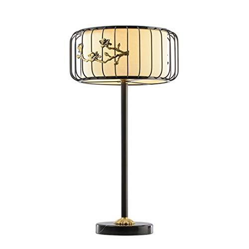 Kupfer Tischleuchte mit Stoffschirm Moderne chinesische Minimalist Wohnkultur Tischlampe for Schlafzimmer Wohnzimmer Study (Color : Black)