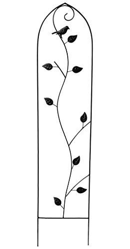 GeKi Trend Rankhilfe Rankgitter Eisen Metall schwarz 21 x 102 cm groß Deko-Vogel