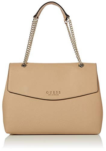 Guess Robyn Shoulder Bag, Borsa a Spalla Donna, Marrone (Tan), 13x26x34 cm (W x H x L)