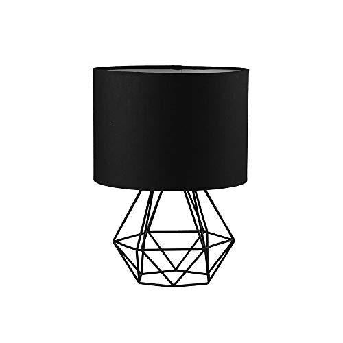 FRIDEKO HOME Vintage Mini Tischlampe - 18cm DIY Tischleuchte Modern Körbchenstil Stil Kreativer für Schlafzimmer Nachttischlampe Arbeitszimmer Office Schwarz 18cm [Energieklasse A++]