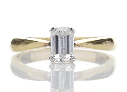 Anillo de Compromiso Oro Amarillo de 18 Quilates con Diamante Corte Esmeralda para Dama - Con Certificado de AGI - Envío Gratis - Diamante, Oro amarillo de 18 quilates, Diamante Natural, Oro 750, O 1/2
