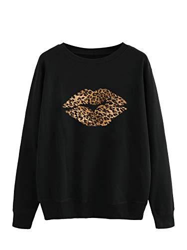 Floerns Women's Plus Size Long Sleeve Leopard Lip Print Sweatshirt Black 3XL
