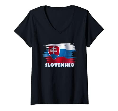 Damen Slowakei Fanartikel Slovensko T-Shirt mit V-Ausschnitt