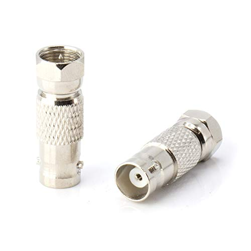 RF (F81) and BNC Coaxial Adapter - BNC Female to Male F81 (F-Pin) Connector, Adapter, Coupler, and Converter - for RG11, RG6, RG59, RG58, SDI, HD SDI, CCTV - 4 Pack