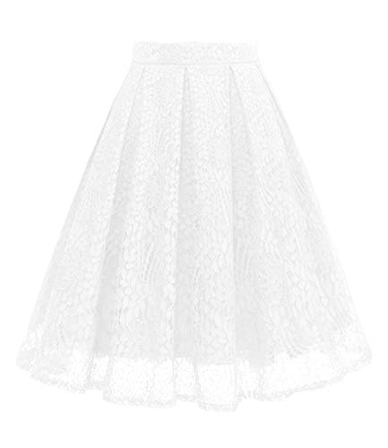 Girstunm Women High Waist Pleated A-Line Knee Length Lace Pockets Skirt White L