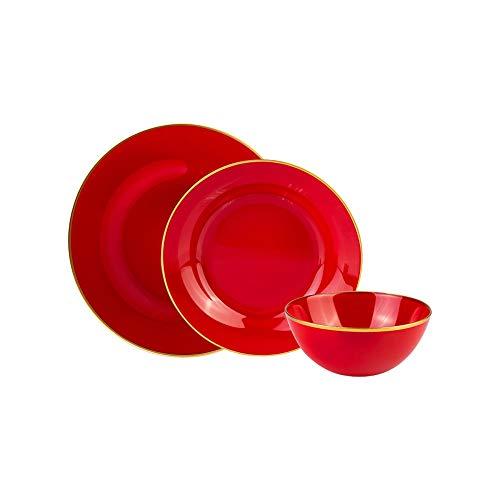 Karaca Retro Rot Tafelservice Hartglasgeschirr Tafelset,18-teiliges Geschirrset für 6 Personen Servierteller 26 cm, 6 Suppenteller 22 cm, 6 Schalen 12,5 cm