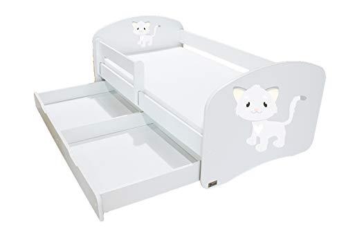 Clamaro 'Schlummerland' 140 x 70 Kinderbett mit Rausfallschutz und Aufkleber, mit Bettkasten auf Rollen, Matratze und Lattenrost, Kantenschutzleisten - Bett Farbe: Weiß, Motiv: 12 Katze