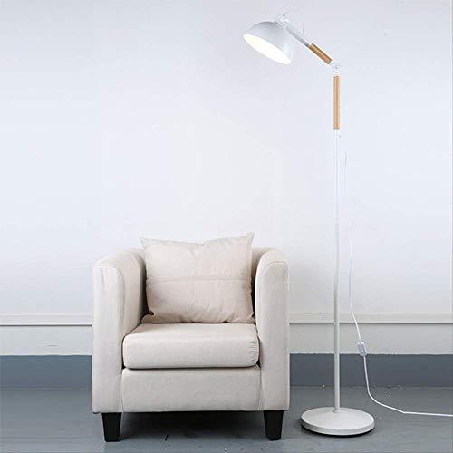 Personalidad simple luces de piso a techo luces creativas de piso a techo Lámpara de café de madera maciza lámpara de dormitorio restaurante sofá lámpara de piso a techo 25-40 Blanco