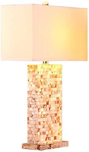 KEYREN Lámpara de Mesa Cáscara de cáscara Natural Cristal Base Y ABIERTE Tela Rectangular Sombra para la Sala de Estar Dormitorio para la habitación de la Cama para el Dormitorio y la Oficina