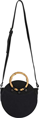styleBREAKER Bolso de Bandolera Redondo de Mujer con Asas de bambú y Superficie estructurada, Bolso de Hombro, Bolso de asa, Bolso 02012292, Color:Negro